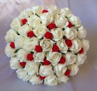 ARTIFICIAL RED IVORY FOAM ROSE BUDS WEDDING FLOWERS BRIDES BRIDESMAID BOUQUET